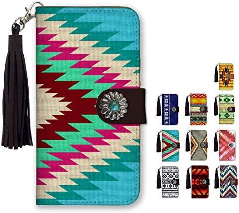 全10色 スマホケース 手帳型 全機種対応 iPhone 11 ケース コンチョ フリンジ チャーム ネイティブ オルテガ柄 西海岸 サンタモニカ エスニック 夏