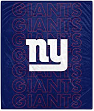 Pegasus Sports NFL Echo Team Wordmark Plush Blanket- New York Giants