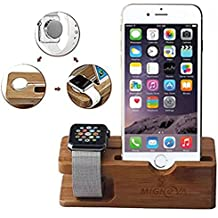 Apple Watch Stand, Gold Cherry bamboo charging dock Station charger holder stand for Apple Watch Iwatch series 1 /2 /3 38mm/42mm iPhone 5 5s 5c 6 6 Plus  7 7 Plus 8 8 Plus iPhone X 2017 release