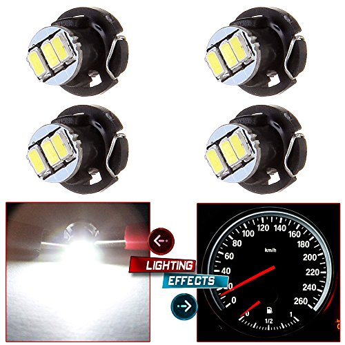 cciyu 4 Pack White 3-3014SMD T4/T4.2 Neo Wedge LED A/C Climate Control Light Bulbs ()
