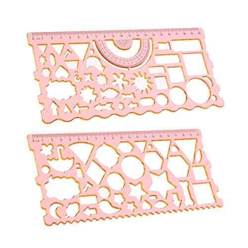 MYAMIA 2Pcs 20Cm Figuras Geométricas Símbolos Protractor Plantilla De Dibujo Regla Set Sudent Plantilla De Redacción: Amazon.es: Hogar