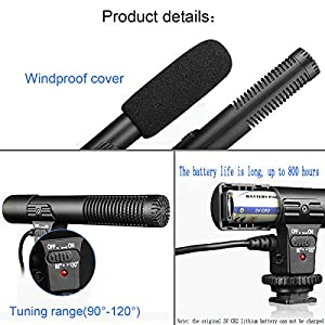 SmilePowo Camera Microphone, EIVOTOR Mic-01 3.5mm Digital Video Recording Microphone for D-SLR Camera, Stereo Shotgun Recording Microphone for Digital SLR Camera,Nikon/Canon Camera/DV Camcorder by SmilePowo