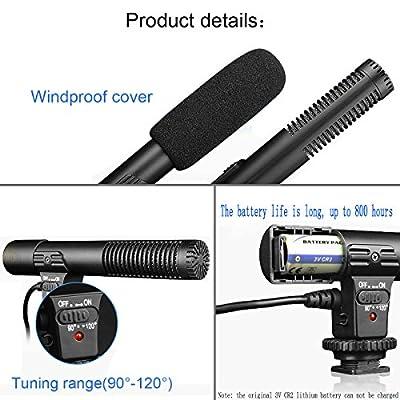 SmilePowo Camera Microphone, EIVOTOR Mic-01 3.5mm Digital Video Recording Microphone for D-SLR Camera, Stereo Shotgun Recording Microphone for Digital SLR Camera,Nikon/Canon Camera/DV Camcorder by SmilePowo