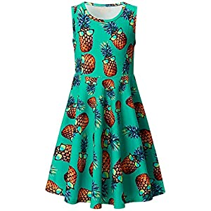 Best Epic Trends 51Lu-J-LPyL._SS300_ Ahegao Girl's Floral Sleeveless Dresses Kids One Piece Sundress for Casual School 4-13 Years Old