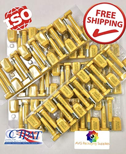 AVG Packaging Supplies Bolt Truck Seals 50 High Security Seal Guarantee - Containers - Trailers - Wagons - Railroad Cars - Cargo - Print Progressive Numbering - ISO and C-TPAT Certified