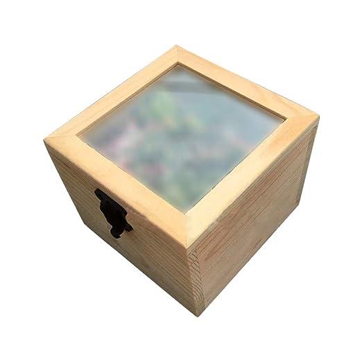 Doitsa pequeño Caja de Madera Cuadrada, Caja de almacenaje para té ...