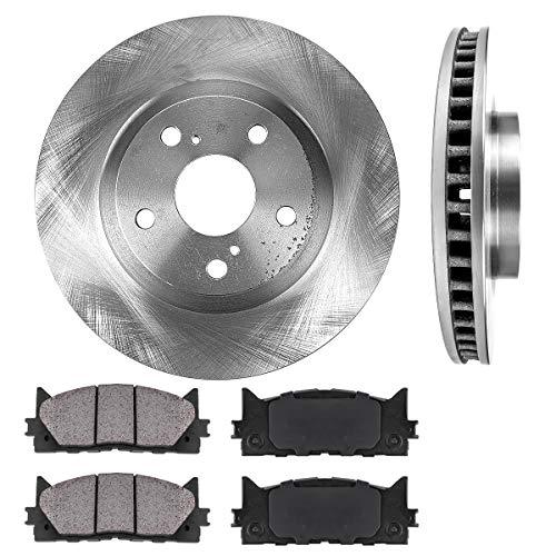 (FRONT 296 mm Premium OE 5 Lug [2] Brake Disc Rotors + [4] Ceramic Brake Pads)