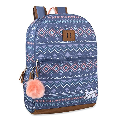 Trailmaker Modern Backpack for Girls with Padded Straps, Suede Bottom, Fashion PomPom for School, Travel