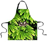 Generic Women's Grilling Halter Adjustable 3D Digital Print Cotton Apron 5 OS