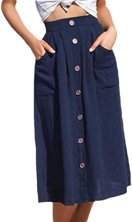 BingSai Faldas Vintage con Botones en la Parte Delantera, línea A ...