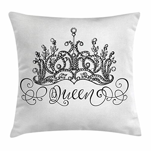 Queen Throw Pillow Cushion Cover by Ambesonne, Hand Drawn Crown with Queen Lettering Baroque Style Ancient Elements Calligraphy, Decorative Square Accent Pillow Case, 36 X 36 Inches, Black and - Crown Queen Mother