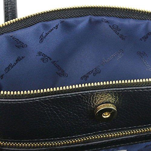cuir Tuscany en Sac Keyluck TL Leather Noir à Noir souple main xwRx1B