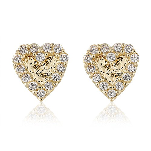 BallucciToosi Heart Stud Earrings-14K Solid Yellow Gold Small Unique Earring with Cubic Zirconia and Screw Back- Jewelry for Baby Girls and Womens (Baby Yellow Earrings)