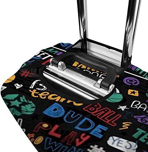 スーツケースカバー 伸縮素材 カラフル バスケットボールの絵 ラゲッジカバー ポリエステル トランク カバー 洗える 汚れ防止 盗難防止 見つけやすい 防塵 保護カバー おしゃれ キャリーカバー 海外旅行 着脱簡単 1枚入り