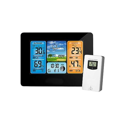 Vosarea Estación meteorológica inalámbrica Termómetro Exterior para Interiores Higrómetro Pronóstico del Tiempo Digital Barómetro Calendario Reloj