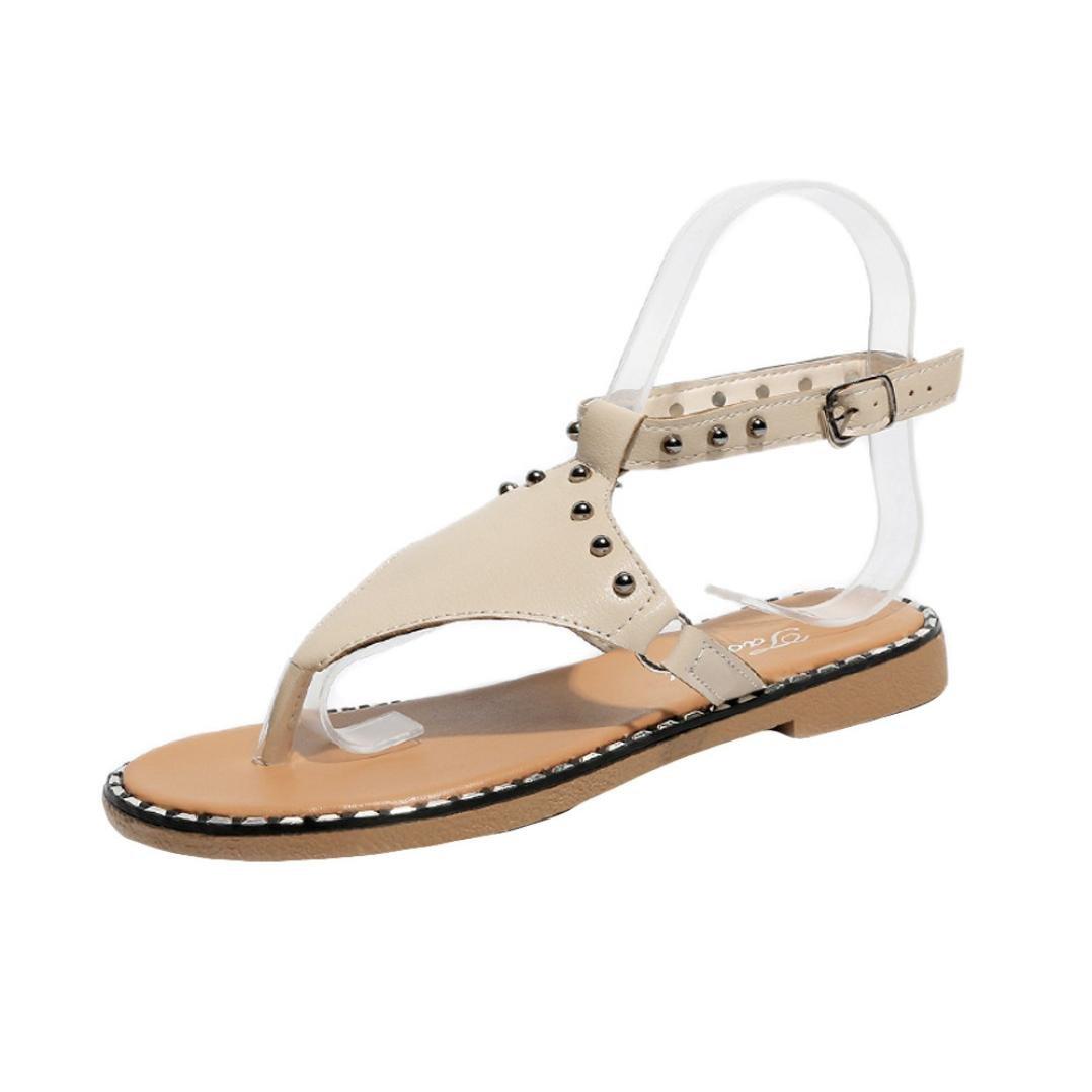 Summer Women Rivet Sandals Flats Casual Rome Style Sandals Gladiator Sandal Beach Shoes  (Beige, US:5)