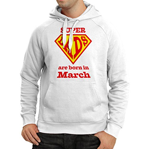 Hoodie Super Dads Are Born In March Anniversary Gifts him (XX-Large White Multi Color)