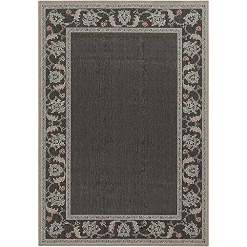 8.75' x 12.75' Moroccan Garden Moss Green and Taupe Gray Shed-Free Area Throw Rug