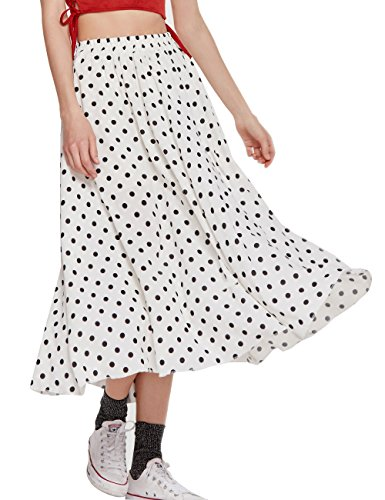 Women's Long Dots Print Maxi Chiffon Polka Long Vintage Skirts (C002White-M)