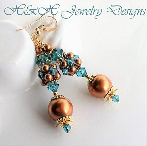 - Copper Pearl Teal Crystal Long Cluster Earrings