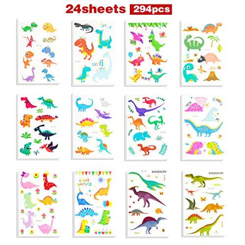Dinosaur Tattoos Stickers 24 Sheets 294PCS Temporary Dinosaur Tattoo 12 Styles for Boys Girls Birthday Party by - Tattoos Dinosaur