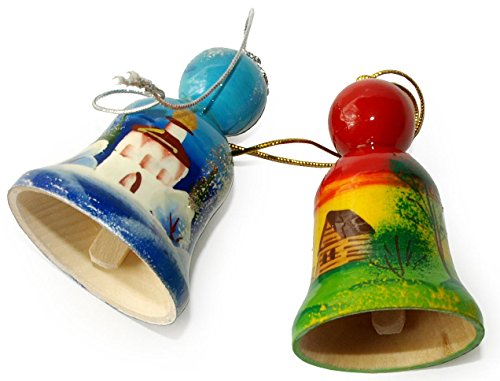 Center Victorian Table - Set of 2 Hand-painted Wooden Bells in a jute sack - Russian Architectural Ornaments - Each item Unique – Winter and Summer Landscapes with Russian Churches - 2 ⅖