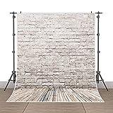 5x7ft Photography Background Vinyl Backdrop Paper Studio Props-Yellow Wood Floor Brick Wall