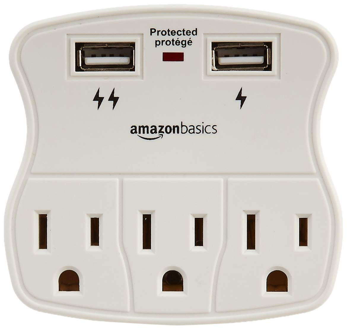 Basics 3-Outlet Surge Protector with 2 USB Ports