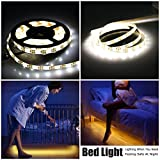 Motion Sensor Bed Light, LinkStyle 9.8FT/3M Dual Mode Motion Night Light, Stick-on Anywhere Wireless Battery Operated Flexible LED Strip Night Light for Stair, Crib Baby Bed