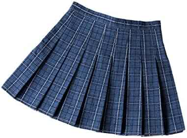 02479571f0 XXXITICAT Girl's High Waist School Uniform Scooter Plaid Pleated Dance  Skirts with Pants Inside