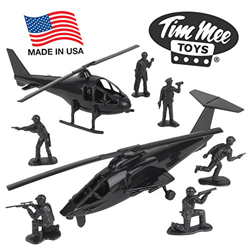 TimMee Black Helicopter Plastic Army Men - 8pc SWAT Chopper Playset: Made in USA