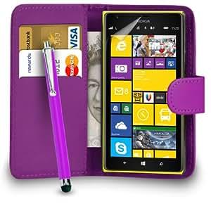 Nokia Lumia 1520 púrpura oscuro PU Cartera de cuero del caso del tirón de la cubierta Pouch + Grandes Touch Stylus Pen + Protector de pantalla y paño de pulido ALEGRÍA POR MOBILE JOY