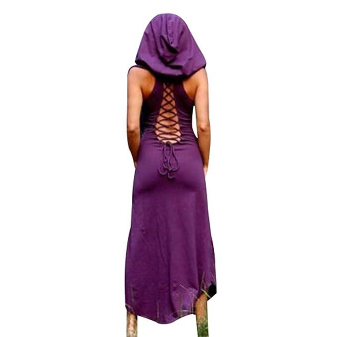 Mujeres Vestido Largo con Capucha Vintage Traje Medieval ...