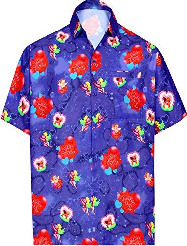 (LA LEELA Printed Shirt for Men Tropical Aloha Valentines Day Heart Love Blue)