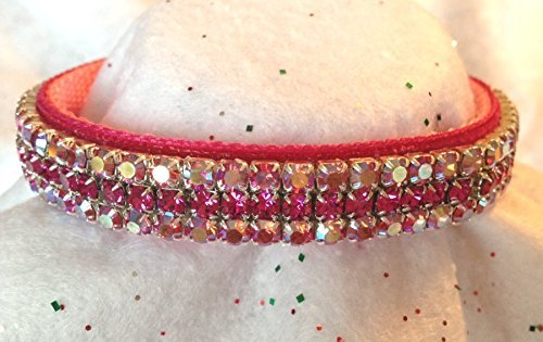 Indian Pink Aurora & Vibrant Fuchsia Crystal Rhinestone Velvet Dog Cat Pet Collar (3XL) by Couture Rhinestone Dog and Cat Collars