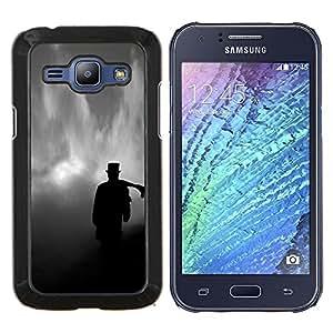 KLONGSHOP // Cubierta de piel con cierre a presión Shell trasero duro de goma Protección Caso - Nubes Tophat Significado Deep Dark - Samsung Galaxy J1 J100 //