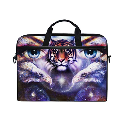 TARTINY 15-15.4 Inch Laptop Bag Painting Eagles Tiger Woman Eyes On Shoulder Messenger Bags Sleeve Case Tablet Briefcase with Handle Strap