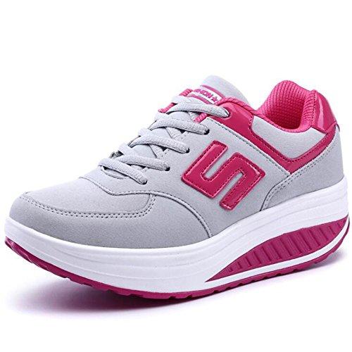Plataforma de Cuero sintético de Las Mujeres Zapatos de Sacudida Casuales Zapatos Casuales de una Sola Vez Zapatos de Sacudida de Las señoras Zapatillas (Color : Rojo, tamaño : 37) Gris