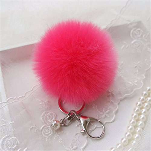 MATCC Charm Keyring Soft Fluffy Rabbit Fur Hand...