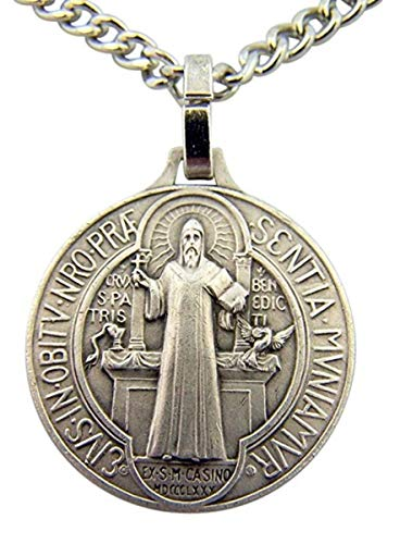 - DTC French Nickel Silver Patron Against Evil Saint Benedict Medal, 7/8 Inch