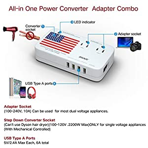 DOACE 2200W Voltage Converter | All-in-One Travel Converter Step Down 220v to 110v with Power 10A Dual Adapter