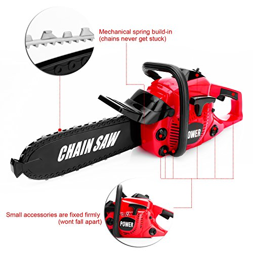 51Lu2v7qcvL - Kids Size Construction Yard Toy Pack Tool Big Play Realistic Chainsaw with Sound, Toddlers Pretend Play Yardwork Lawn Equipment Giant Plastic Chains Saw for Boys Garden Tool