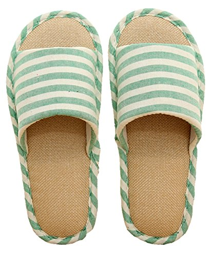 Blubi Donna Estate Strisce Pantofole Di Casa Di Lino Accogliente Pantofole Da Donna Pantofole Aperte Punta Verde