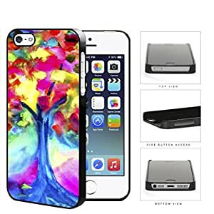Colorful Tree Watercolor Painting Hard Plastic Snap On Cell Phone Case Apple iPhone 5 5s