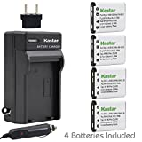 Kastar Battery (4-Pack) and Charger Kit for Nikon EN-EL10 MH-63 work with Nikon Coolpix S60, S80, S200, S210, S220, S230, S500, S510, S520, S570, S600, S700, S3000, S4000, S5100 Cameras