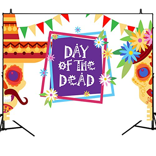 Mehofoto Day of The Dead Photography Backdrops La Catrina Sugar Skull Background Marigold Colorful Flag Backdrop 7x5ft Vinyl Mexico Halloween Celebration Banner Decor -