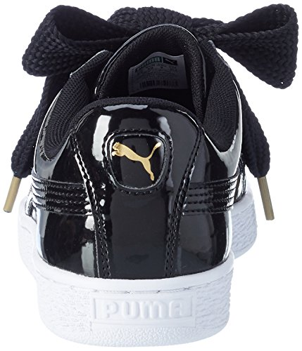 Puma Damen Basket Heart Patent Low-Top Sneaker Schwarz (Puma Black)