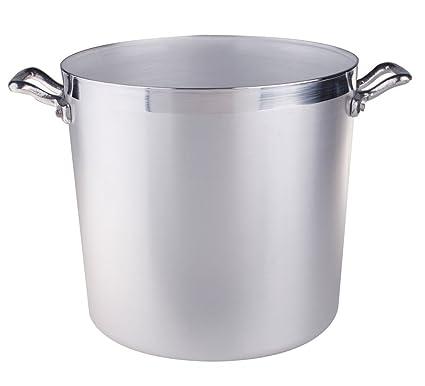 Ollas Agnelli cilíndricos Pot, Aluminio BLTF, con 2 manijas de Acero Inoxidable, 15 litros, Plata
