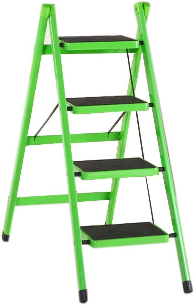 Escalera plegable taburete banqueta Taburete plegable para adultos mayores, niños, escalera portátil resistente de 4 escalones con pedal ancho antideslizante, acero, carga 120 kg (Color : Green): Amazon.es: Bricolaje y herramientas