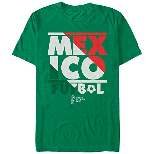 (Fifth Sun FIFA World Cup Russia 2018 Men's Mexico Stripes Kelly Green T-Shirt)